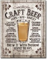Craft Beer Metal Tin Sign Brew It With Passion Home Bar Garage Wall Decor New