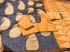 New Rare Color Raw Silk Saree with Mirror work N Stitched blouse 36/38