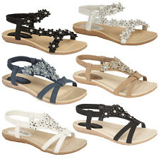 LADIES SANDALS WOMENS SUMMER BEACH PARTY LOW HEEL FLAT SHOES CASUAL FLIP FLOPS