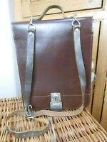 67c89b8afde8 Vintage 70s Brown Leather Messenger Satchel Laptop Cross Body Retro  Shoulder Bag