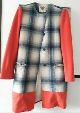MADE For Loving Check Coat Blue Orange Size S