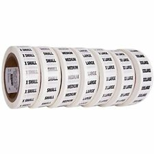 "Clothing Size Strip Labels 1.25"" X 250 Strips Per Roll 1500 Total Clear With Ink"