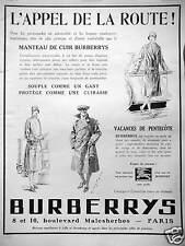 PUBLICITÉ BURBERRYS MANTEAU DE CUIR SOUPLE COMME UN GANT L'APPEL DE LA ROUTE