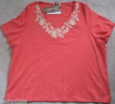 M&S Classic Paprika Colour Cotton embroidered Blouse top t-shirt (NEW) size 24