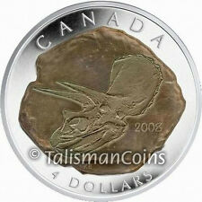 Canada 2008 Dinosaur Fossil Triceratops $4 Pure Silver Proof w Fossil Technology