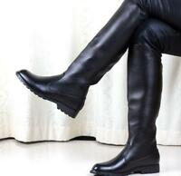 military men's leather solid black knight knee high boots flat riding chic shoes
