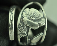 Beautiful 925 Sterling Silver California Flower Spoon Ring