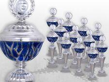 12er Pokalserie Pokale BLUE STARLIGHT mit Gravur günstige Pokale silber / blau
