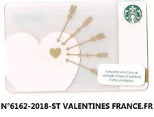 CARTE CADEAU-GIFT CARD-STARBUCKS-FRANCE-FR-6162-2018-ST VALENTINES COEUR HEART