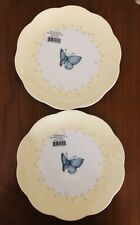 Lenox Butterfly Meadow Dessert Plate White Yellow With Butterflies New Set Of 2