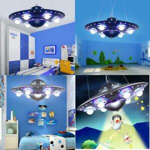 Remote Control Ufo Pendant Light Silver Blue Children Kids Boy Bedroom Hanging P