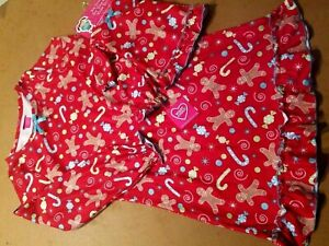 """WHAT A DOLL RED GOWN FLANNEL """"GINGER BREAD"""" PAJAMA (7/8) + GOWN FOR A DOLL"""