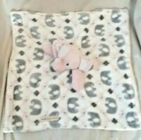Blankets & Beyond Pink Gray Elephant Baby Security Lovey Very Soft Fleece