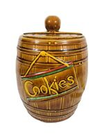 Vintage, American Bisque, Barrel Cookie Jar with Lid made in the USA