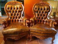 Coppia poltrone capitonne` pelle marrone legno classica stile antico perfette