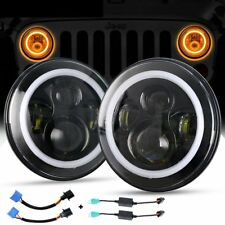 Pair 7inch LED Headlights Projector Lens High Output DRL Halo For GQ PATROL