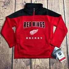 NHL Kids Large 7 Long Sleeve Detroit Red Wings 1/4 Zip Pullover Track Jacket