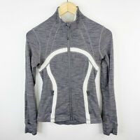 Lululemon Size 4 Define Jacket Fossil Gray White Space Dye Full Zip Yoga Gym