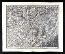 1882 Stieler Map France & Germany Kolmar Zurich Basel Dijon Wurtenburg Paris