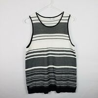 Vince Womens Top Size M Black White Striped Knit Sleeveless Scoop Neck Tunic