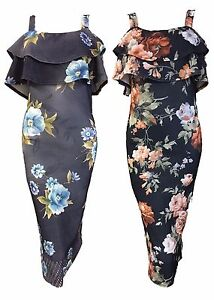 1s Womens Sleeveless Floral Bodycon Cocktail Ladies Pencil Strappy Party Dress