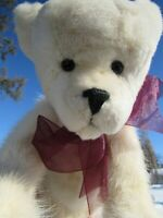 "VINTAGE TEDDY BEAR 13"" SOFT REAL FUR WHITE MINK ? OOAK ARTIST RED RIBBON DOLL"