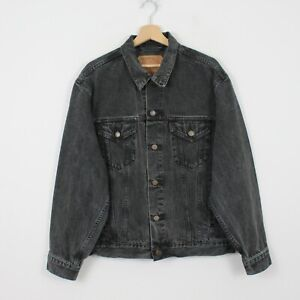 C90 Vtg Levi Strauss 70503 02 Men Grey 90s Denim Jean Trucker Jacket Size L