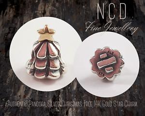 NC Designs Authentic Pandora Silver Christmas Tree 14K Gold Star Charm 790365