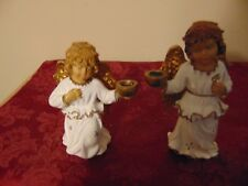 Vintage Churb Angel Candle Holders Figurine / Italy / Pair/Candles
