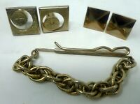 VTG Men's Jewelry Lot 5 Pieces Swank Goldtone Tie Clip Tack 2 Pair Cuff Link