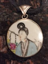 Chinese Ching Dynasty Shard Pottery Necklace Pendant Sterling Bezel Silk Chord