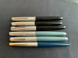Lot of (6) Vintage PARKER Fountain Pens (Parker 51 & 45)