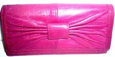 "SUZY SMITH Dark Purple Pink soft leather Wallet Purse 7.25"" x 4"""