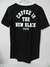 NWT Victoria's Secret PINK Black Lace Up Coffee is the New Black Sleep Shirt XS