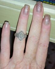 Ross Simons Sterling silver pave cluster Diamond pre or promise Engagement ring