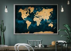 Stunning Galaxy World Map 2020 (HD/4K) Giant Art Space Poster A0 (Laminated)