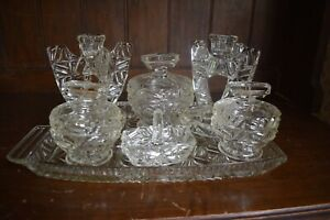 Vintage 1930s Clear Cut Glass 7 piece Vanity / Dressing Table Set candlesticks
