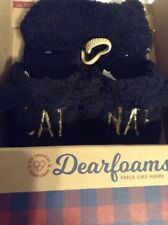 """Dearfoams Womens Slippers Black """"CAT NAP"""" with Eye Cover Size Small (5-6)Rt $38"""