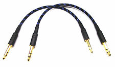 From OZ Quality 2PC 35cm 6.35mm 1/4 Stereo Pro Balanced Speaker Cable Blue Braid