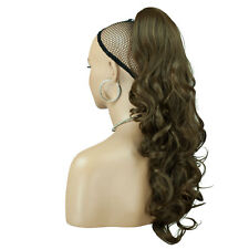 """22"""" PONYTAIL Clip in Hair Extensions WAVY Ash Brown REVERSIBLE"""