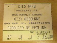 1984 OZZY OSBOURNE MOTLEY CRUE SHOUT AT THE DEVIL DENVER CONCERT TICKET STUB