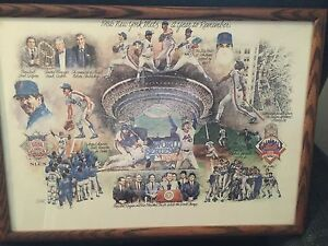 New York Mets A Year To Remember 1986 World Series  Photo Lithograph /oak framed