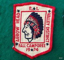 BOY SCOUT CAMPOREE PATCH  - 1974 VALLEY DISTRICT - ARROW HEAD