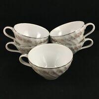 Set of 5 VTG Cups by Dansico Teahouse Rose Fine China Floral Japan