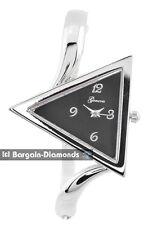 "ladies modern triangle fashion silver tone watch black dial 6.5"" bangle bracelet"