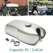 9L/2.4 Gallon Steel Custom Cafe Racer Gas Fuel Tank Kit Fit for BMW Honda Yamaha