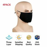 4PCS Three Layers Cotton Unisex Face Mask Washable Reusable Mouth Cover Shield