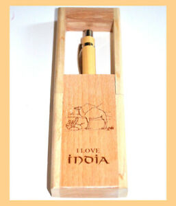 Teak Wood Engraved Pen Holder Desk Pen Pencil Stand with Pen from India