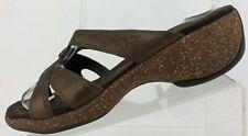 Merrell Slide Sandals Sundial Cross Thong Brown Platform Wedge Shoes Womens US 8