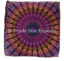 Large Cushion Cover Mandala Meditation Pillow Ethnic Ottoman Pouf Cotton Throws